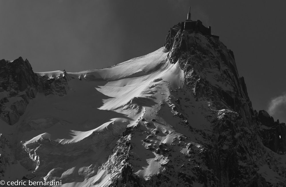 The north face of the Aiguille du Midi, entering the Mallory with Michael 'Bird' Shaffer, Tom Grant, &Ross Hewitt.Photo: Cedric Bernardini