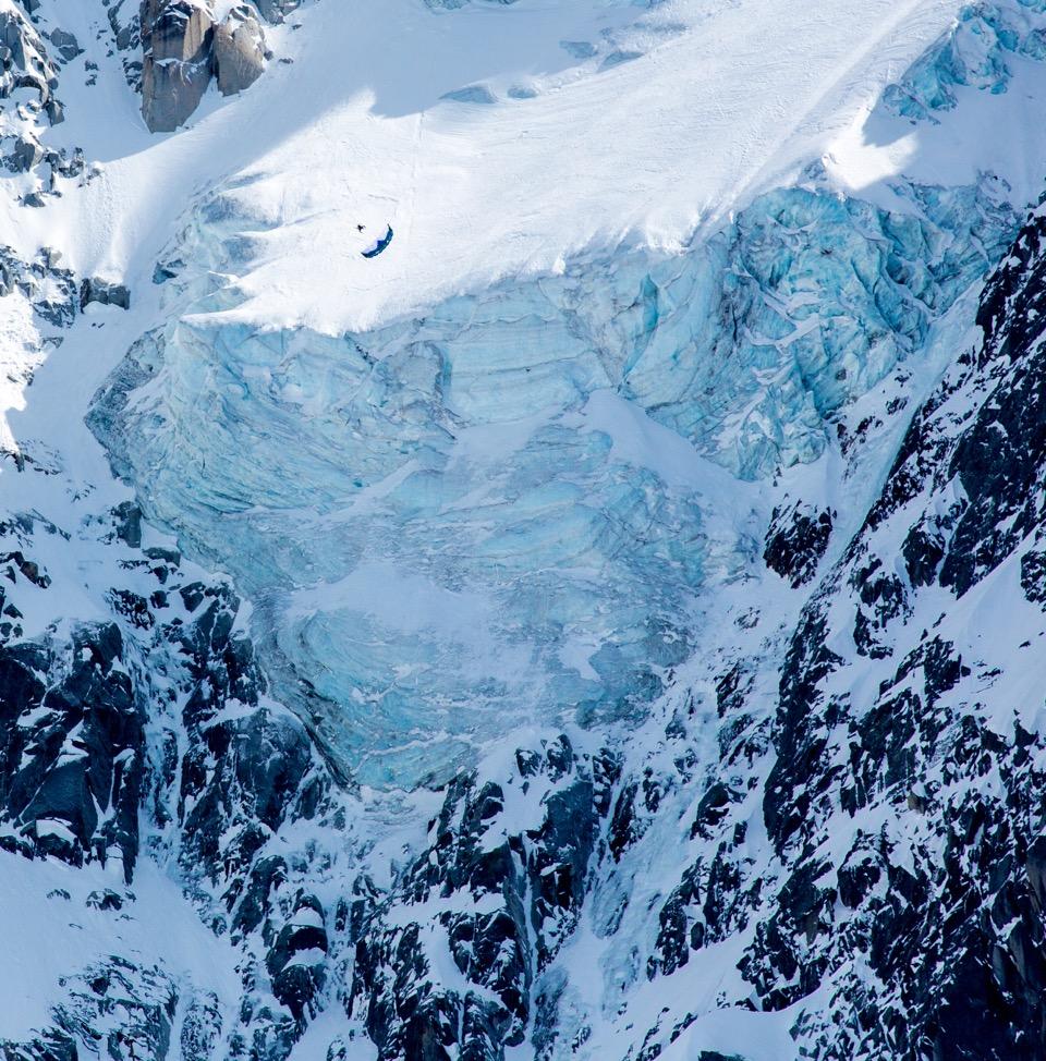 Speed Flying the north face of the Aiguille du Midi. Photo: Cedric Bernardini
