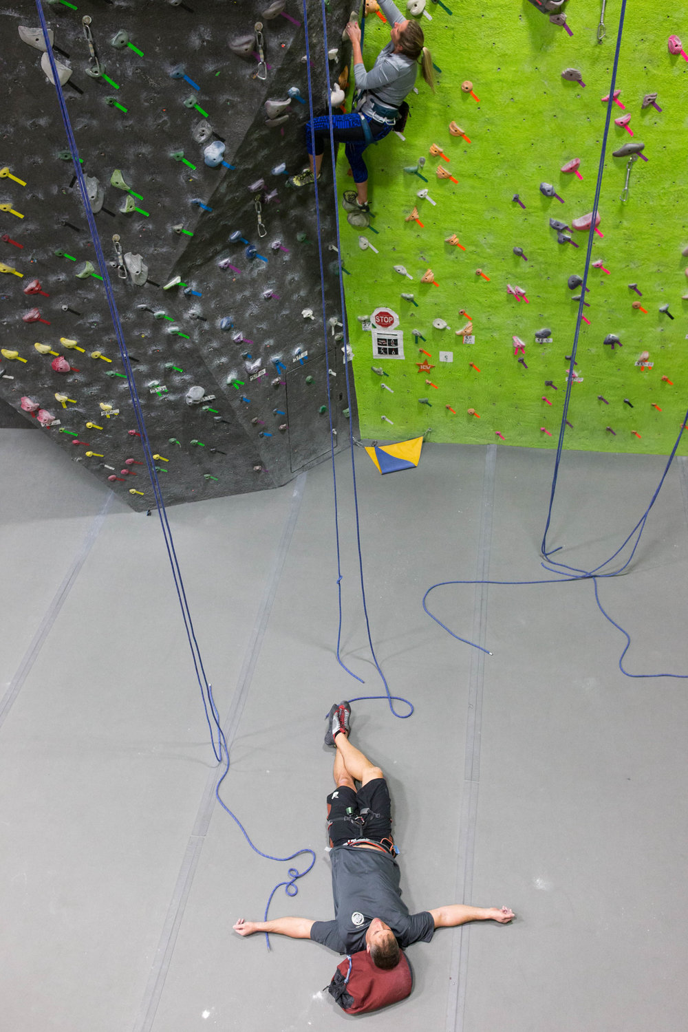 I'll often lie on my back on the cushioned floor mats and close my eyes to rest after a climb. Sometimes I'll fall asleep for a little while there. I come to this gym religiously every Monday and Wednesday evening, serving as a way to get me out of the house and out of my shell.