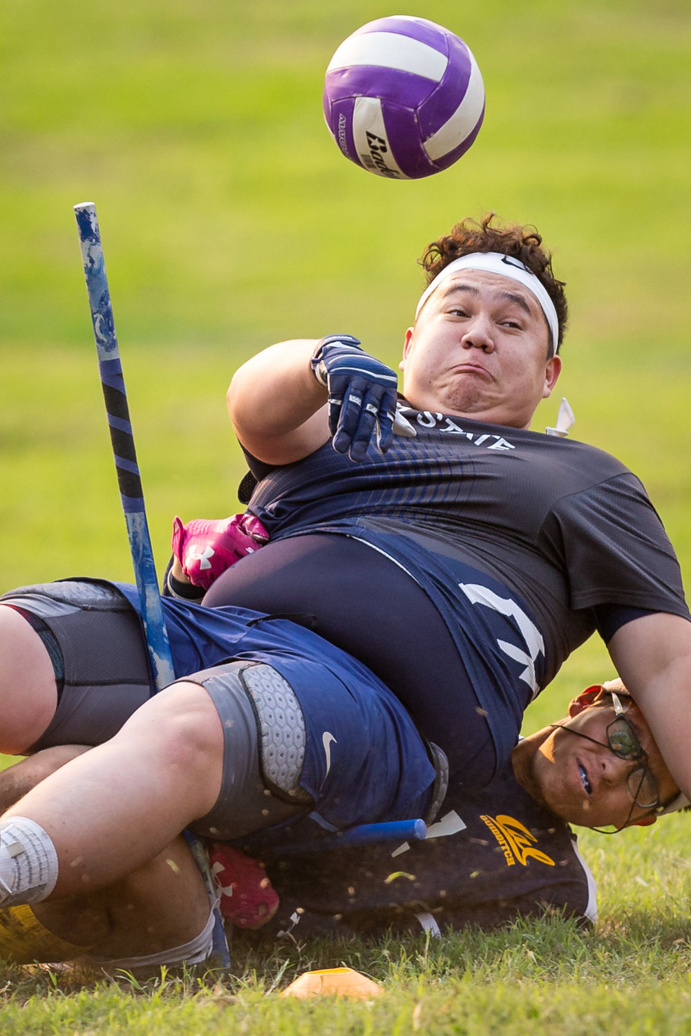 Utah State's Blake Rodman (91) passes the quaffle as he gets taken down by UC Berkeley's Matt Thur (17) during the Chandra Classic quidditch tournament at Redondo Beach, CA, on Nov. 10, 2018. Cal won 170-80 and went on to take first place in the tournament.