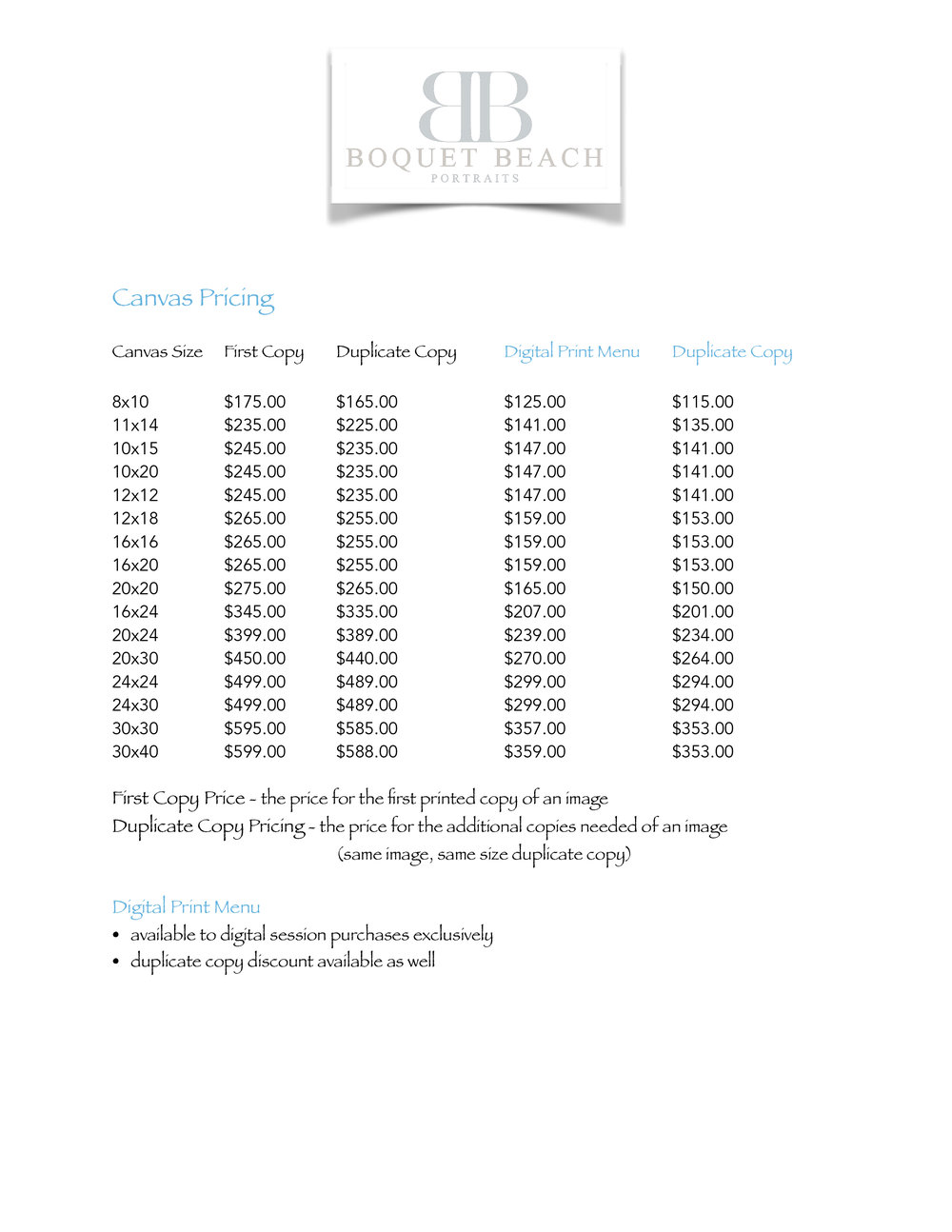 Canvas Pricing
