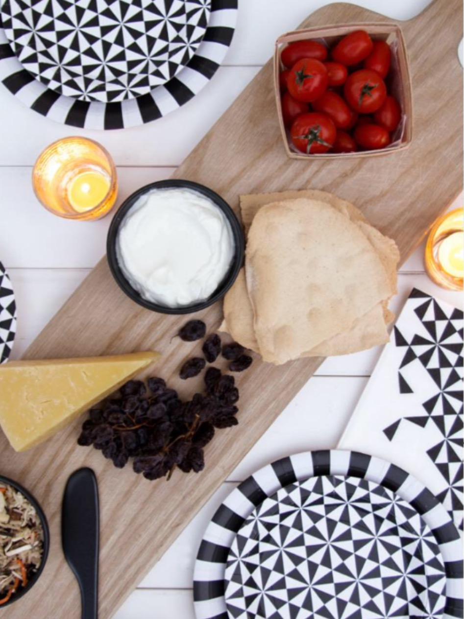 Black and White Geo Party Tableware