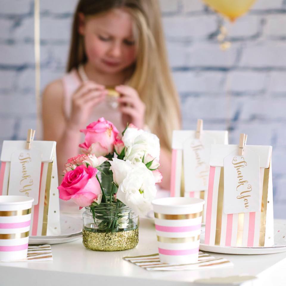 Pink and Gold Party Tableware