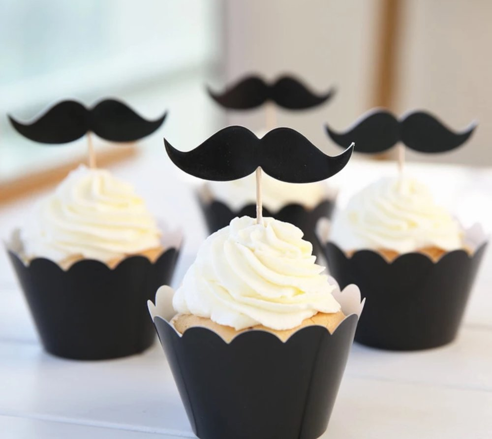 Fully Loaded Secret Agent Black Mustache Cup Cake Cases and Topper