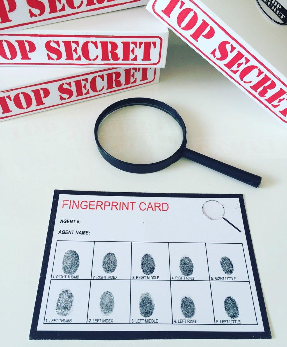 Secret Agent Party Finger Print Card