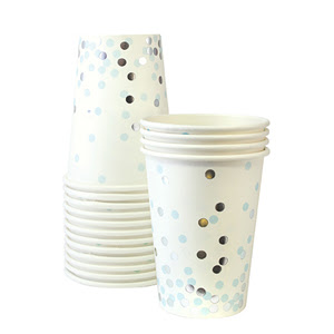 Blue and Gold Confetti Cups