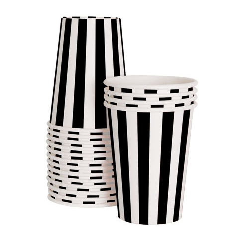 Black White Stripe Cup