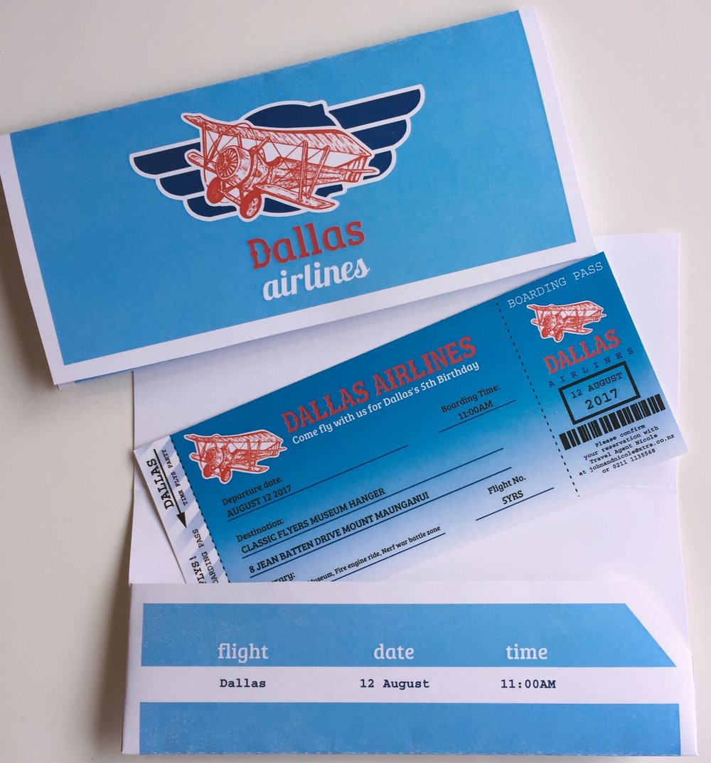 Time Flies Boarding Pass Invitation