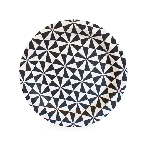 Black and White Geo paper plates