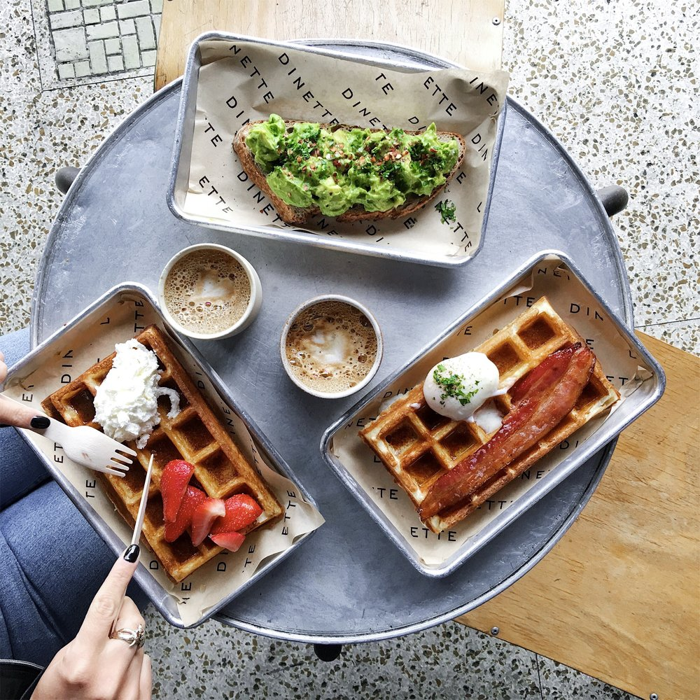 Avocado toast, Waffle bacon egg and Waffle strawberry