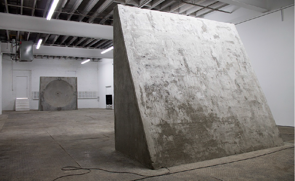 Tim Bruniges | MIRRORS (2014) | concrete, microphones, speakers | infinite duration | installation view SIGNAL New York