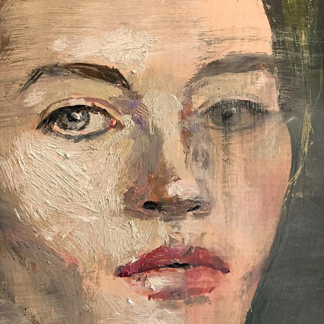 Vanessa Stockard, self portrait as bust (detail), oil on birch, 50x50cm