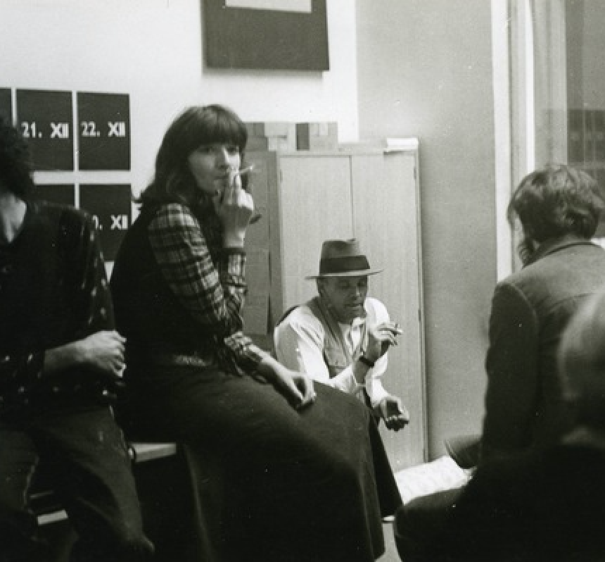 Marina Abramović and Joseph Beuys at the SKC in Belgrade in 1974.