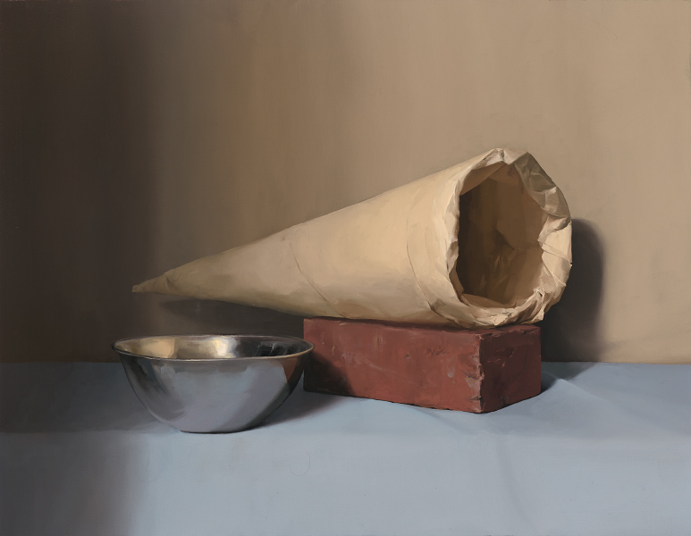 Ebony Truscott, Bowl brick and paper cone, 2017, oil on linen