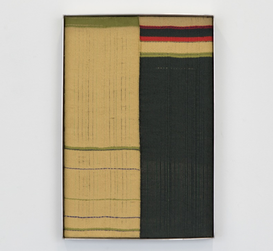 Tia Ansell, Bundle IV, 2018, linen, cotton, silk and wool tapestry with aluminium frame.