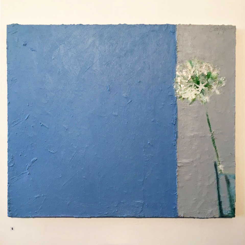 Chris Capper, Agapanthus and window, 2012-15, oil on canvas