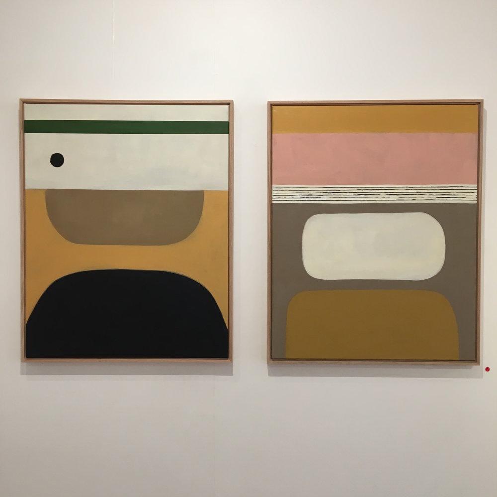 Rachael McCully-Kerwick,  Sunday, 4pm,  2018 oil and acrylic on canvas (left)  Absent Mim and Hollyhocks,  2018 oil and acrylic on canvas.