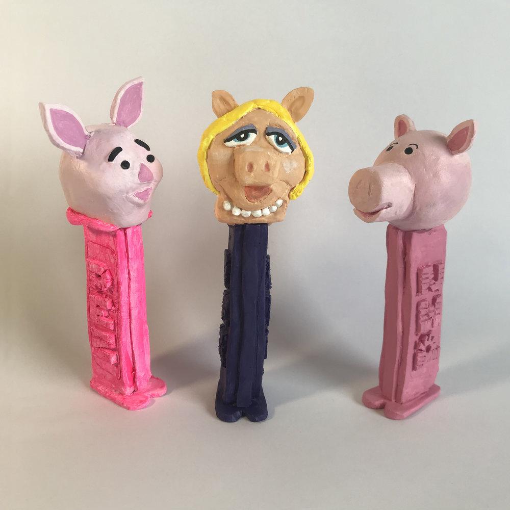 Three Little Pigs Pez. Kenny Pittock. 2019. piggs IMG_5927.jpg