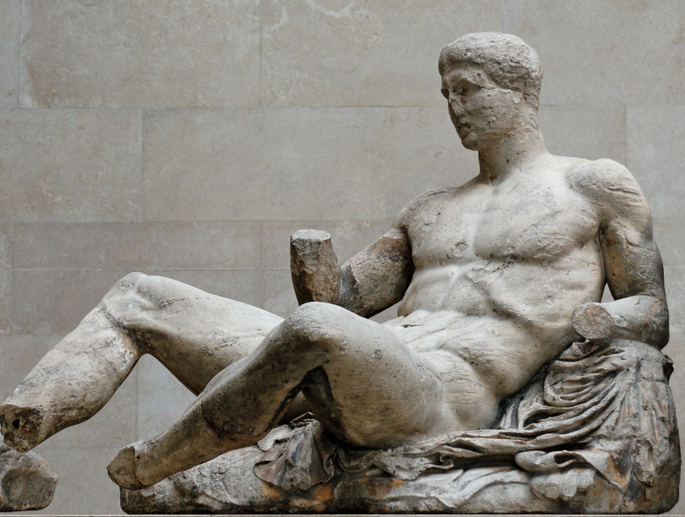 Pictured is the sculpture of Dionysus from the Parthenon's East Pediment.