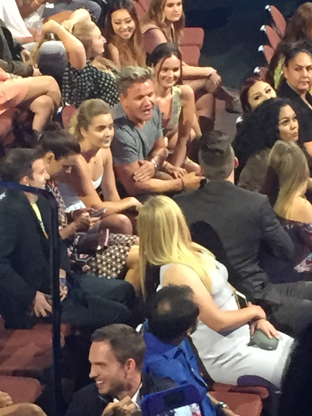 Gordon Ramsay and his three daughters chatting to Pretty Little Liars star Sasha Pieterse.