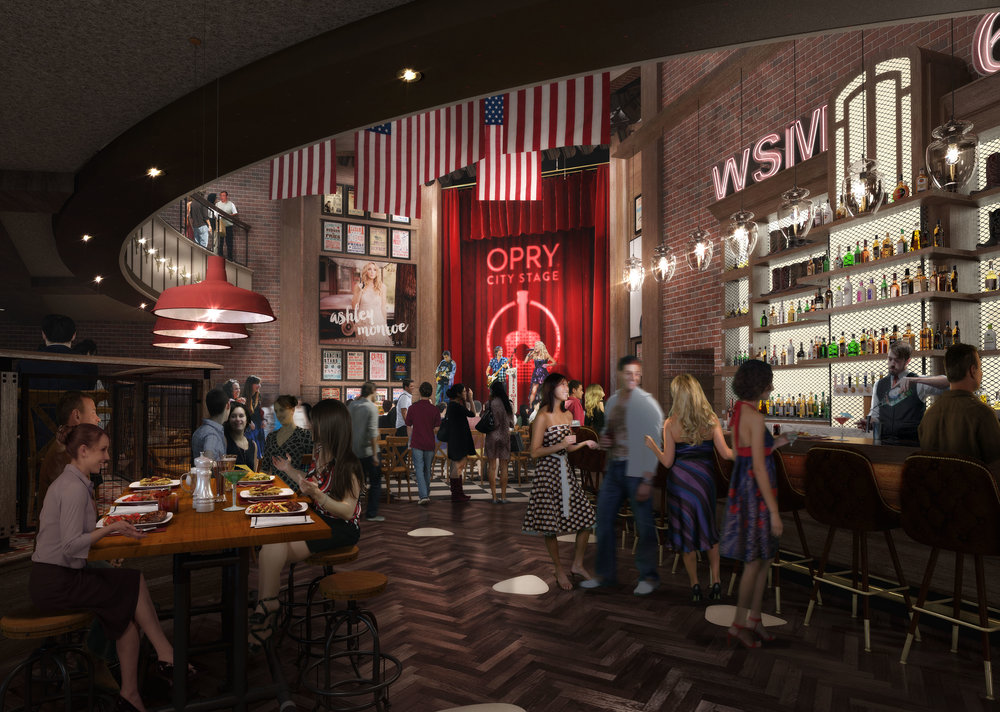 A rendering of the future Opry City Stage in Times Square.