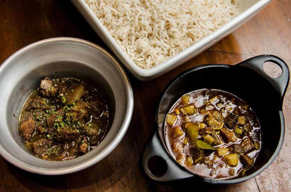 Raw mango & pork curry, with aged sorpotel.