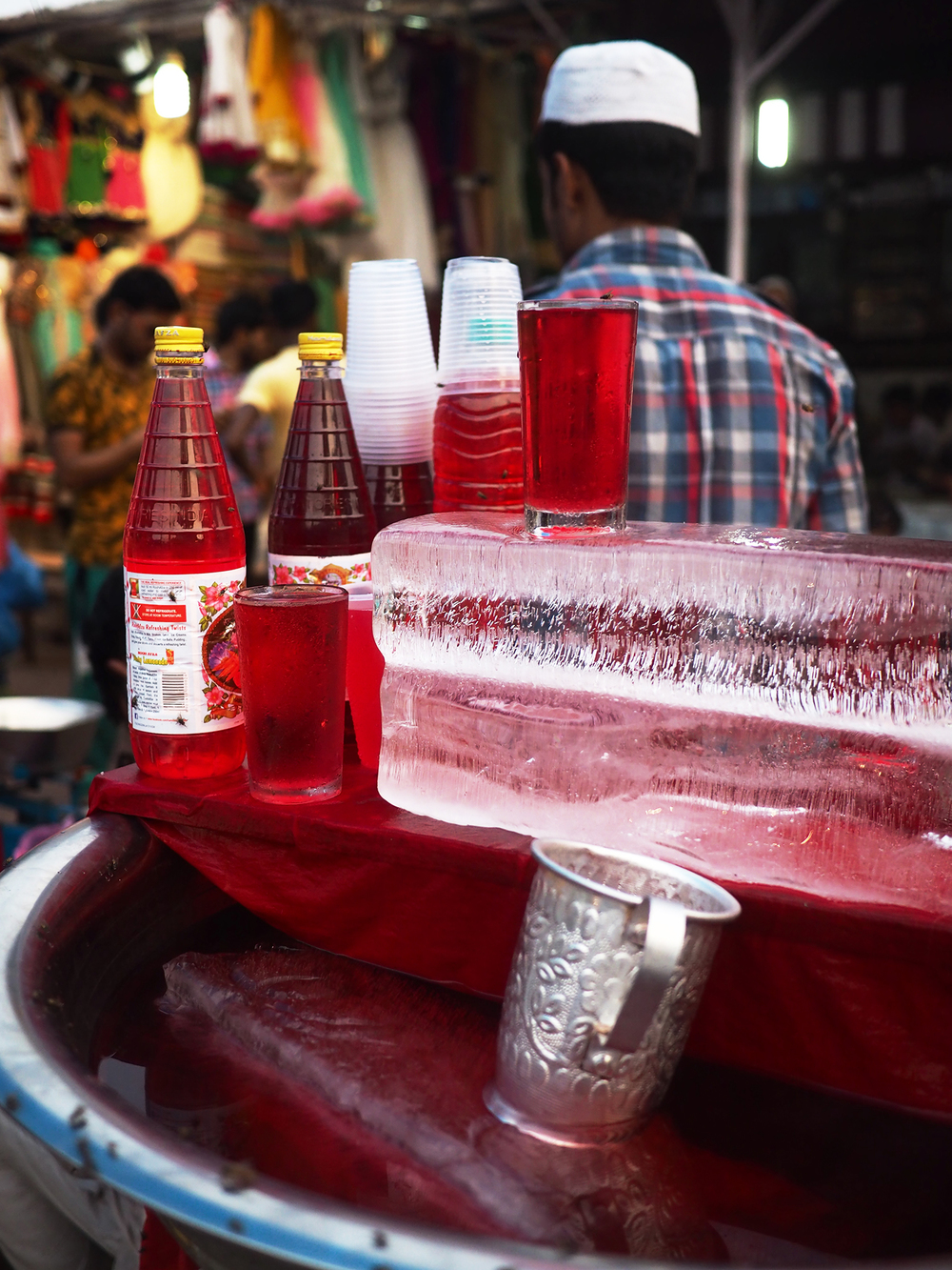 Rooh Afza, a cooling drink made with herbs and flowers, is popular in the market.