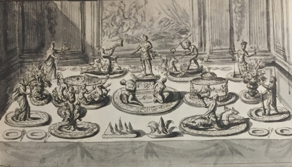 Banquet Table with trionfi & papal arms by P.P. Sevin