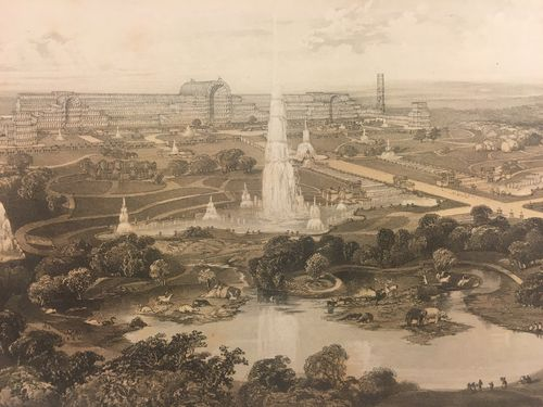 Lithograph published by Day & Son, 1854, showing the Crystal Palace and Park in Sydenham. Add MS 50150.