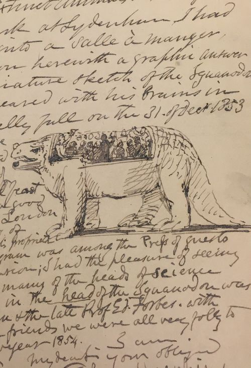 Detail of the dinner party held inside the Iguanodon, from Hawkins' letter to Trimmer, Add MS 50150  .