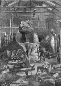 Etching showing the mould being created from the full size clay model of the iguanodon from Illustrated London News, Dec 31 1853