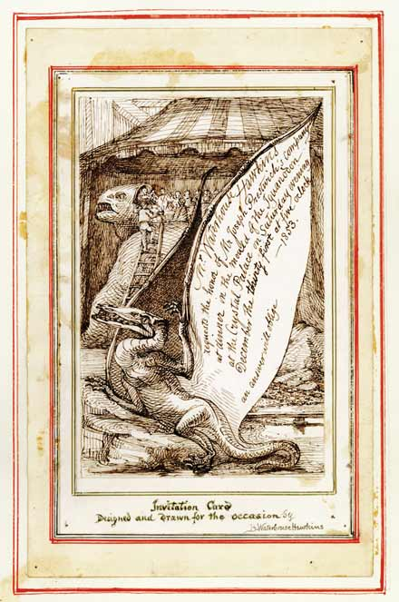 Original drawing by Benjamin Waterhouse Hawkins for the invitation to Dinner in the Iguanodon Mould. This is preserved in Academy of Natural Sciences of Drexel University.  A printed invitation also is preserved in the Waterhouse Hawkins collection at the Natural History Museum.  For more information, please see here.