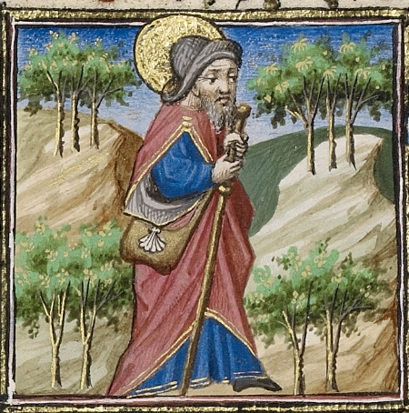 """Saint James as a Pilgrim with a Purse and a Staff"" (Paris, 1440), courtesy of Getty Images"