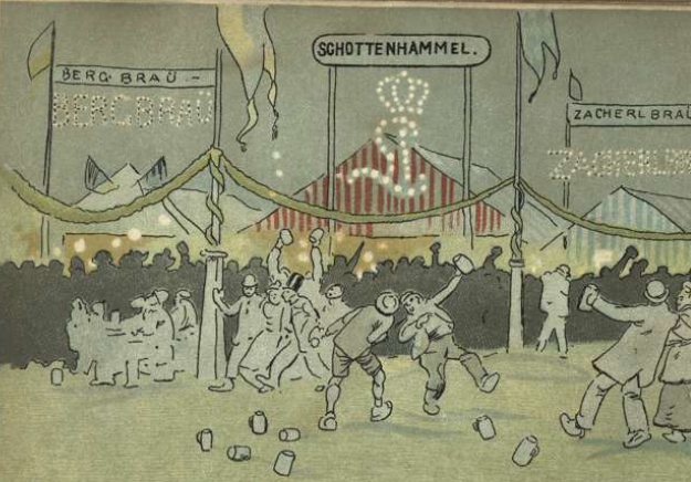 Comic by Henry Albrech,Das Oktoberfest in München (1895) courtesy of Bayerische StaatsBiblibliothek