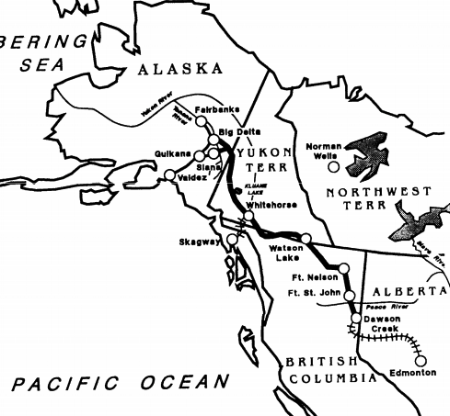 A map of the Alaskan Highway, showing the supply rail links from Edmonton to Dawson Creek.