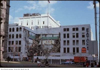 The demolition of Eaton's Queen Street store, home of the Georgian Room, in the summer of 1976.