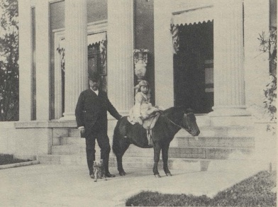 "Clara D.D. Bell and her father, Col. D.D. Bell, in front of their home at Bell Place in Kentucky, shortly before his death in 1892. Photo Courtesy of James D. Birchfield, ""Some Muniments of Bell Court, Lexington""  The Kentucky Review  9:3 (Fall 1989)"
