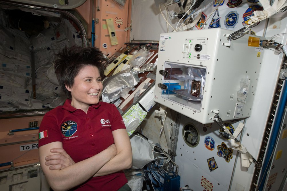 Astronaut Samantha Cristoforetti featured with the ISSpresso (Image courtesy of NASA)