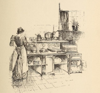 An 1894 image of the electric kitchen from The Woman's Book: Dealing Practically with the Modern Conditions of Home Life, Self-Support, Education, Opportunities, and Every-Day Problems