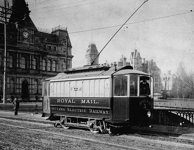 An early image of Ahearn's electrical railway at use in Ottawa, Canada.