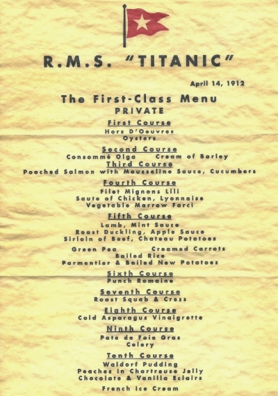 The menu for the final meal of Titanic's First Class Dining Saloon