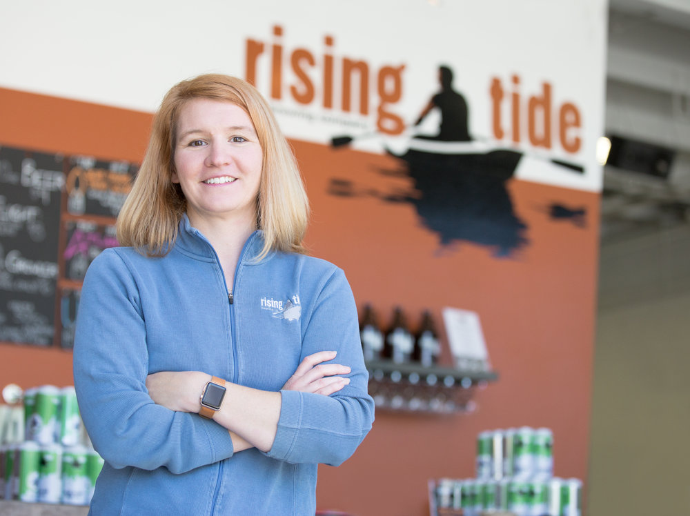 Heather Sanborn, director of operations and owner of Rising Tide Brewery in Portland, Maine