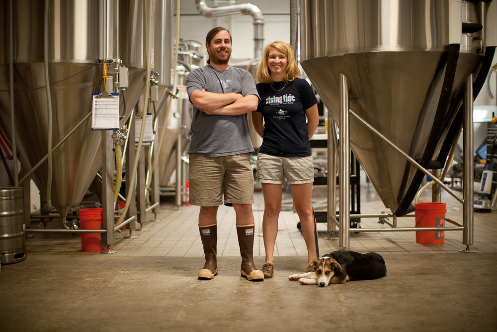 Nathan and Heather Sanborn, co-owners of Rising Tide Brewery
