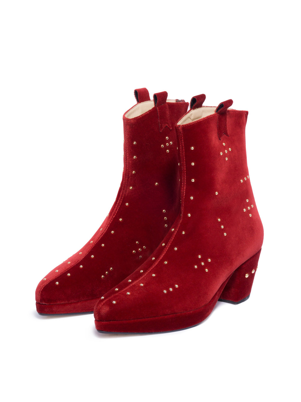RANI BAGERIA X ENSOIE CROSS HIGH ANKLE BOOTS ROSSO   € 415.00