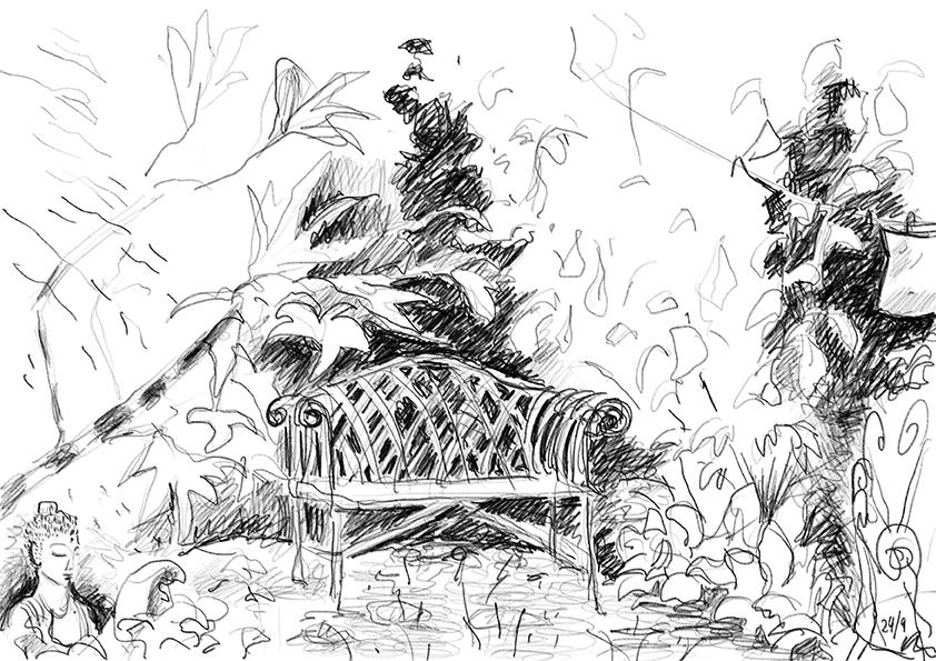 Buddha. Garden Seat. Peg bag