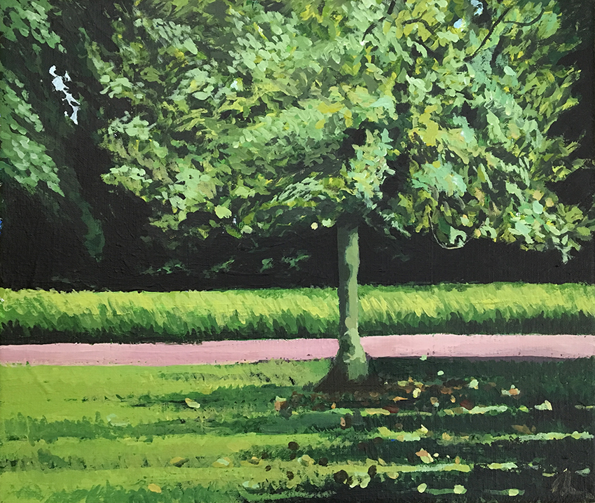 Lone Tree, Mayow Park. Acrylic on Canvas 12in x 8 in