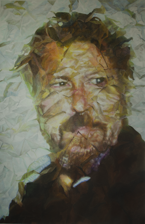 """JULIAN SCHNABEL  2015© Colored pencils, oil pastels on paper  79.5"""" x 52"""" [201.93 cm x 132.08 cm]    detail: photograph - unknown photographer"""