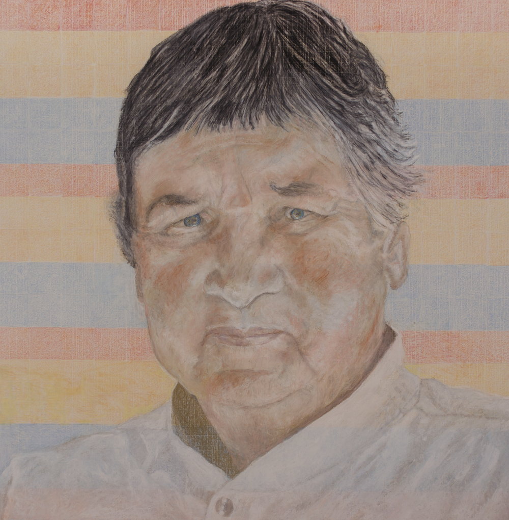 """""""AGNES MARTIN and untitled 5 1998"""" 2016© Colored pencils, oil pastels, china markers ON PAPER 49.75"""" x 49.75"""" [126.365 cm x 126.365 cm] 2016©          Inspired by detail of Untitled 5 1998"""