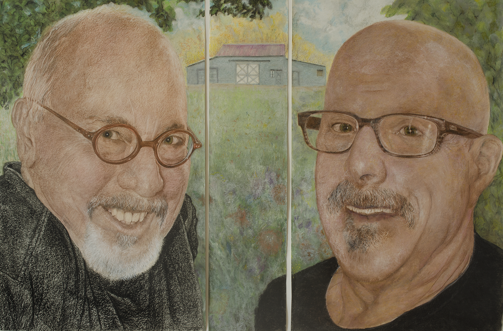 "198.12ELLIOTT GERBER & HARRY GREENBERGER 2014 © CHINA MARKERS OIL PASTELS ON PAPER 78"" X 50""  [198.12 CM X 127 CM]"