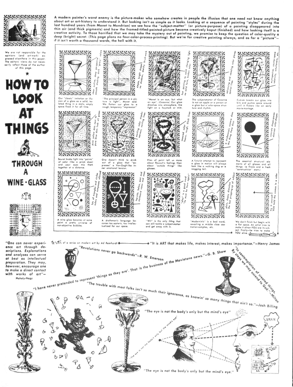 ad reinhardt, How to Look at Things through a Wine-Glass, 1946, spencer museum of art, lawrence, kansas